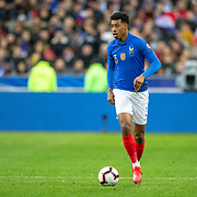 PARIS, FRANCE - March 25:  Presnel Kimpembe #3 of France in action during the France V Iceland, 2020 European Championship Qualifying, Group Stage at  Stade de France on March 25th 2019 in Paris, France (Photo by Tim Clayton/Corbis via Getty Images)