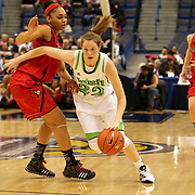 Madison Cable, Notre Dame, in action during the Notre Dame Fighting Irish V Louisville Cardinals Semi Final match during the Big East Conference, 2013 Women's Basketball Championships at the XL Center, Hartford, Connecticut, USA. 11th March. Photo Tim Clayton