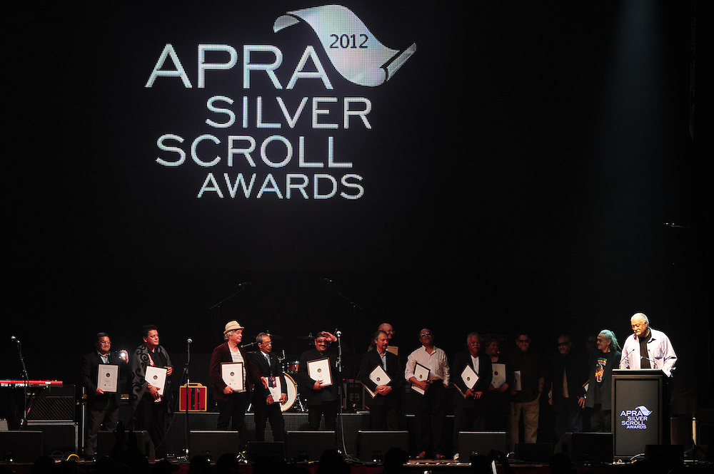 Herbs on stage being inducted into the New Zealand Music Hall Of Fame at the APRA Silver Scroll Awards 2012. Auckland Town Hall. 13 September 2012.