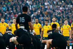 Australia players look on as New Zealand perform the Haka - Mandatory byline: Rogan Thomson/JMP - 07966 386802 - 31/10/2015 - RUGBY UNION - Twickenham Stadium - London, England - New Zealand v Australia - Rugby World Cup 2015 FINAL.