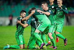Players of Slovenia celebrate after Kronaveter scored first goal for Slovenia during football match between National teams of Slovenia and Slovakia in Round #2 of FIFA World Cup Russia 2018 qualifications in Group F, on October 8, 2016 in SRC Stozice, Ljubljana, Slovenia. Photo by Vid Ponikvar / Sportida