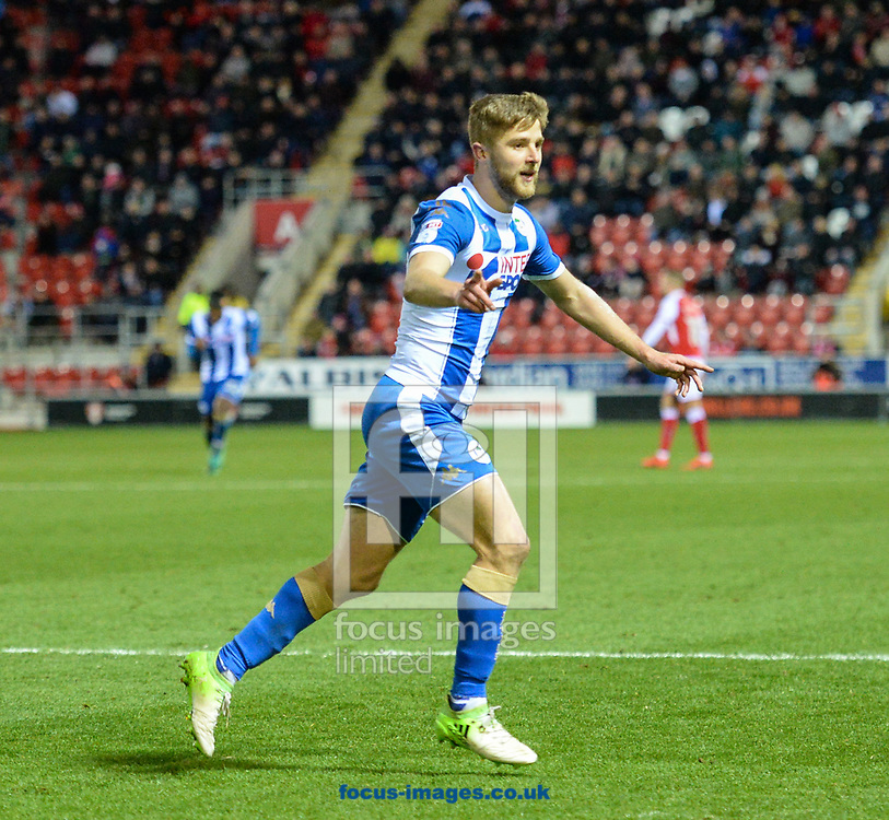 Michael Jacobs of Wigan Athletic celebrates after scoring to make it 3-1 during the Sky Bet League 1 match at the New York Stadium, Rotherham<br /> Picture by Richard Land/Focus Images Ltd +44 7713 507003<br /> 25/11/2017