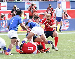 March 5, 2017 - Las Vegas, Nevada, United States of America - Chilean rugby player Joaquin Huici Espinosa tackles by  Samoan player Jope Perez during the 2017 USA Sevens International Rugby Tournament game between Chile and Somoa on March 4, 2017  at Sam Boyd  Stadium  in Las Vegas, Nevada (Credit Image: © Marcel Thomas via ZUMA Wire)