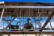 Sculpture of historic first flight, Wright Brothers National Memorial,  Kill Devil Hills, Outer Banks, North Carolina, USA