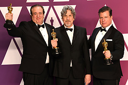 "Nick Vallelonga, Peter Farrelly and Brian Currie, winners of the Best Original Screenplay Awards for ""Green Book"" at the 91st Annual Academy Awards"