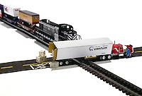 Quantum train crash on white background