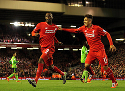Christian Benteke of Liverpool celebrates his goal with Roberto Firmino of Liverpool - Mandatory byline: Robbie Stephenson/JMP - 07966 386802 - 25/10/2015 - FOOTBALL - Anfield - Liverpool, England - Liverpool v Southampton - Barclays Premier League