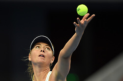 BEIJING, Oct. 4, 2017  Maria Sharapova of Russia serves during the women's singles third round match against Simona Halep of Romania at 2017 China Open tennis tournament in Beijing, capital of China, Oct. 4, 2017. Simona Halep won 2-0. (Credit Image: © Ju Huanzong/Xinhua via ZUMA Wire)