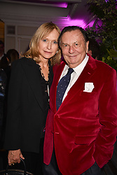 Barry Humphries and his wife Lizzie at the 2017 Fortnum & Mason Food & Drink Awards held at Fortnum & Mason, Piccadilly London England. 11 May 2017.<br /> Photo by Dominic O'Neill/SilverHub 0203 174 1069 sales@silverhubmedia.com