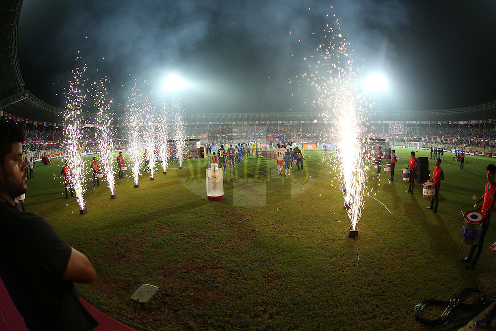 Fire works during match 25 of the Indian Super League (ISL) season 2  between FC Goa and FC Pune City held at the Jawaharlal Nehru Stadium, Fatorda, Goa, India on the 30th October 2015.<br /> <br /> Photo by Sandeep Shetty / ISL/ SPORTZPICS