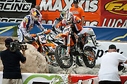 #311 Mike Brown navigates the tricky 'Rock Garden' as the rocks below the bike move around and change every lap.<br /> <br /> <br /> 2009 Endurocross Round #1 held at the Orleans Arena in Las Vegas, Nevada