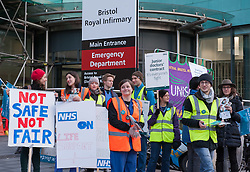 © Licensed to London News Pictures. 10/02/2016. Bristol, UK.  Junior Doctors national strike. Junior doctors picket line outside the Bristol Royal Infirmary in central Bristol. Photo credit : Simon Chapman/LNP