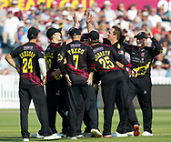 Somerset's Josh Davey celebrates taking the wicket of Gloucestershire's Benny Howell with team-mate Tom Abell<br /> <br /> Photographer Simon King/Replay Images<br /> <br /> Vitality Blast T20 - Round 1 - Somerset v Gloucestershire - Friday 6th July 2018 - Cooper Associates County Ground - Taunton<br /> <br /> World Copyright © Replay Images . All rights reserved. info@replayimages.co.uk - http://replayimages.co.uk