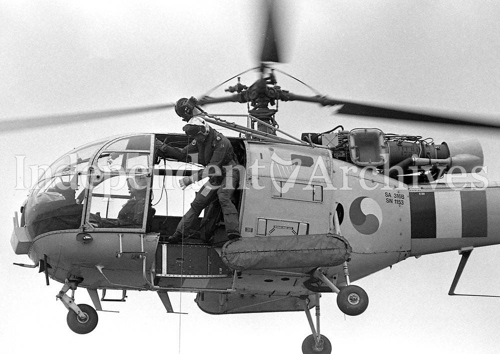 An Aer Corrps Aerospatiale Alouette III Helicopter, Dún Laoghaire Pier, during a Dept of Marine Emergency Rescue Service demonstration, 23/06/1996 (Part of the Independent Newspapers Ireland/NLI Collection).