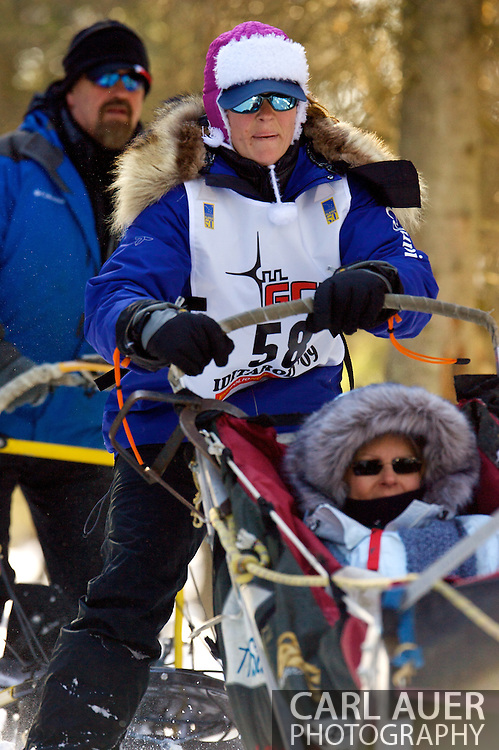 March 7th, 2009:  Anchorage, Alaska - Blind musher Rachael Scdoris from Bend, Oregon moves through the woods near the Alaska Native Hospital during the 2009 Ceremonial Start of the Iditarod.