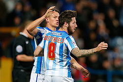 Jacob Butterfield of Huddersfield Town celebrates scoring a goal to make it 1-0  with his teammates - Photo mandatory by-line: Rogan Thomson/JMP - 07966 386802 - 21/10/2014 - SPORT - FOOTBALL - Huddersfield, England - The John Smith's Stadium - Huddersfield Town v Brighton & Hove Albion - Sky Bet Championship.