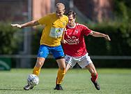 Stefan Fjeldsted Jensen (Ølstykke FC) og Kasper Larsen (Ejby) under kampen i Serie 2 mellem Ølstykke FC og Ejby IF den 7. september 2019 på Ølstykke Stadion. Foto: Claus Birch.