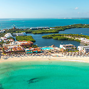 Aerial View of the hotel Club Med in Cancun, Mexico.