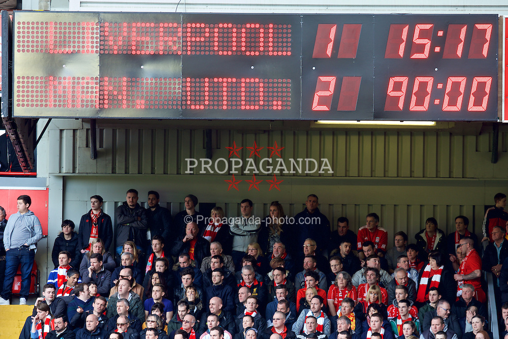 LIVERPOOL, ENGLAND - Sunday, March 22, 2015: Liverpool's scoreboard records the 2-1 defeat to Manchester United during the Premier League match at Anfield. (Pic by David Rawcliffe/Propaganda)