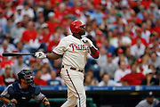 27 Sept 2008: Philadelphia Phillies first baseman Ryan Howard #6 hits the ball during the game against the Washington Nationals on September 27th, 2008. The Phillies won 4-3 to clinch the National League Eastern Division title at Citizens Bank Park in Philadelphia, Pennsylvania