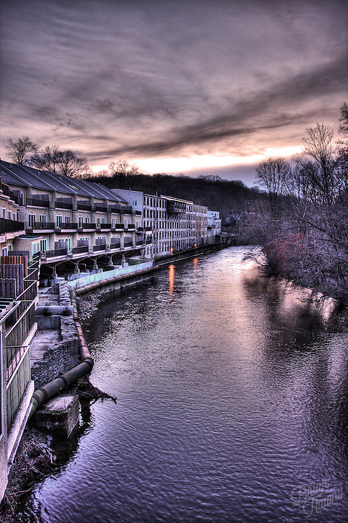 The sun setting at the end of the day hiking around the Bancroft Mill area of the Brandywine River. Taken on top of the relatively new walking path bridge over the water. This shot looks up river to the northwest. After processing this photo with HDR, I got the colors and sky to match very closely to what the eye could see. Hope you like!