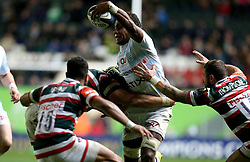 Leone Nakarawa of Racing 92 is tackled - Mandatory by-line: Robbie Stephenson/JMP - 23/10/2016 - RUGBY - Welford Road Stadium - Leicester, England - Leicester Tigers v Racing 92 - European Champions Cup