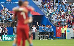 June 25, 2018 - Samara, Russia - Edinson Cavani of Uruguay celebrates with teammates after scoring his team's third goal during the 2018 FIFA World Cup Russia group A match between Uruguay and Russia at Samara Arena on June 25, 2018 in Samara, Russia. (Credit Image: © Foto Olimpik/NurPhoto via ZUMA Press)