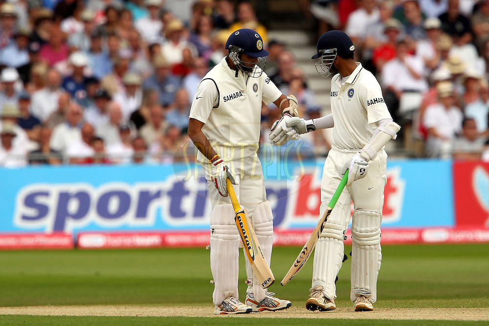 VVS Laxman and Rahul Dravid during day 2 of the 2nd test between England and India held at Trent Bridge Cricket Ground in Nottingham on the 30th July 2011...Photo by Ron Gaunt/SPORTZPICS/BCCI