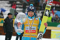 23.03.2014, Planica, Ratece, SLO, FIS Weltcup Ski Sprung, Planica, Siegerehrung, Skisprung, Gesamtwertung, im Bild KAMIL STOCH / on podium of overall mens FIS Ski jumping Worldcup Cup at Planica in Ratece, Slovenia on 2014/03/23. EXPA Pictures © 2014, PhotoCredit: EXPA/ Newspix/ Katarzyna Woloszczak<br /> <br /> *****ATTENTION - for AUT, SLO, CRO, SRB, BIH, MAZ, TUR, SUI, SWE only*****