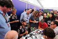 Sebastian Vettel (GER) Red Bull Racing with the media.<br /> Japanese Grand Prix, Saturday 4th October 2014. Suzuka, Japan.