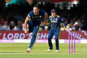 Kyle Abbott of Hampshire bowling during the Royal London 1 Day Cup Final match between Somerset County Cricket Club and Hampshire County Cricket Club at Lord's Cricket Ground, St John's Wood, United Kingdom on 25 May 2019.