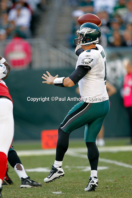 Philadelphia Eagles quarterback Kevin Kolb (4) throws a pass during the NFL week 6 football game against the Atlanta Falcons on Sunday, October 17, 2010 in Philadelphia, Pennsylvania. The Eagles won the game 31-17. (©Paul Anthony Spinelli)