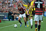 10.03.2013 Sydney, Australia. Wanderers Croatian midfielder Mateo Poljak in action during the Hyundai A League game between Western Sydney Wanderers and Wellington Phoenix FC from the Parramatta Stadium. The Wanderers won 2-1.