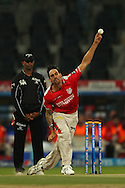 Mitchell Johnson of the Kings X1 Punjab during match 15 of the Pepsi Indian Premier League 2014 Season between The Kings XI Punjab and the Kolkata Knight Riders held at the Sheikh Zayed Stadium, Abu Dhabi, United Arab Emirates on the 26th April 2014<br /> <br /> Photo by Ron Gaunt / IPL / SPORTZPICS