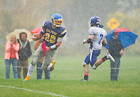 Gilford's Kyle Gaudet charges into the endzone for a touchdown during NHIAA Division III football with Interlakes at the Meadows Field on Saturday afternoon.(Karen Bobotas/for the Laconia Daily Sun)