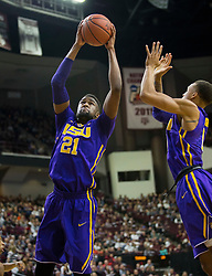 LSU forward Aaron Epps (21) grabs a rebound against Texas A&M during the first half of an NCAA college basketball game Saturday, Jan. 6, 2018, in College Station, Texas. (AP Photo/Sam Craft)