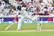 Virat Kohli (captain) of India makes it back to safety as the ball hits the stumps during second day of the Specsavers International Test Match 2018 match between England and India at Edgbaston, Birmingham, United Kingdom on 2 August 2018. Picture by Graham Hunt.
