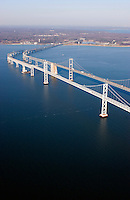 Aeriel view f the Chesepaeke Bay Bridge span spanning over overpass connect connection commute commuting