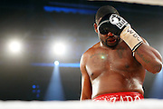Challenger Juan Carlos Gomez of Cuba paws at his eye which is bleeding whilst taking on Vitali Klitschko in their WBC heavyweight title fight on March 21, 2009 at the Hanns-Martin-Schleyer-Halle in Stuttgart, southern Germany.