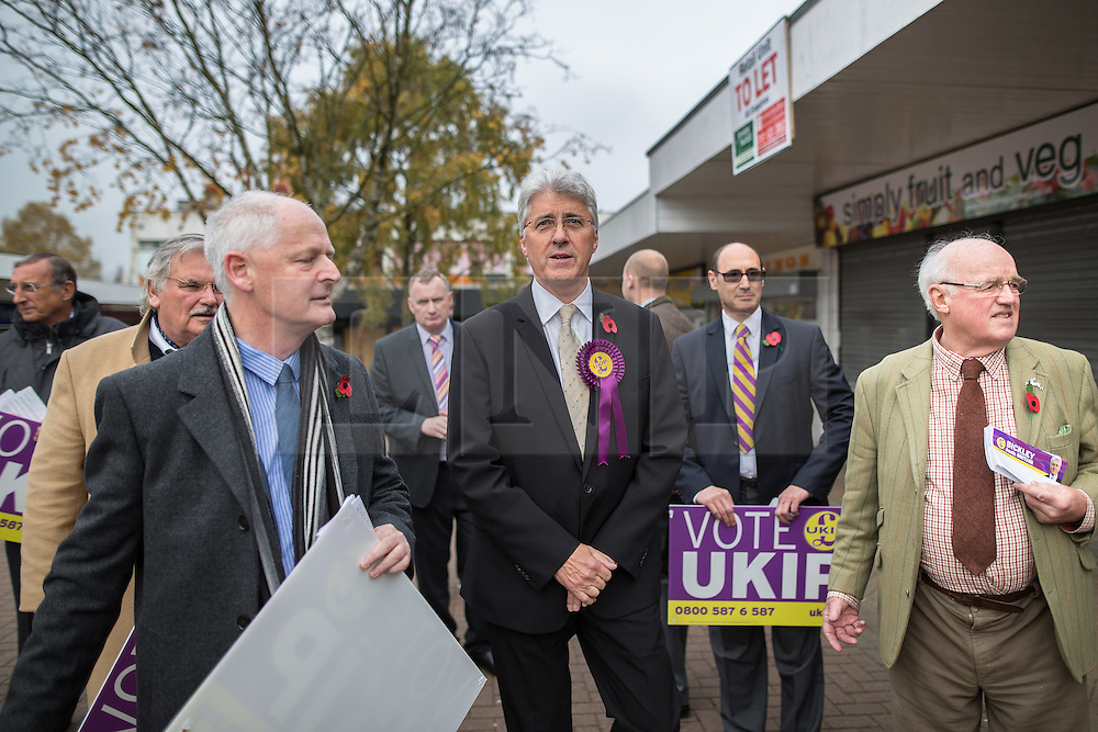 © Licensed to London News Pictures . 03/11/2015 . Oldham , UK . UKIP candidate JOHN BICKLEY at the launch of their campaign for the seat of Oldham West and Royton , out and about in Royton Shopping Centre . The by-election has been triggered by the death of MP Michael Meacher . Photo credit : Joel Goodman/LNP