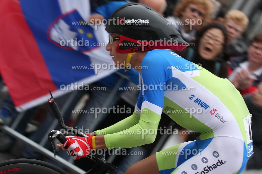 Jani Brajkovic of Slovenia during the Elite Men's Time Trial on day three of the UCI Road World Championships on September 21, 2011 in Copenhagen, Denmark. (Photo by Marjan Kelner / Sportida Photo Agency)