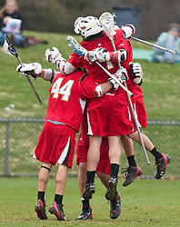 Maryland celebrates after a goal against UVA.  The #9 ranked Maryland Terrapins fell to the #1 ranked Virginia Cavaliers 10 in 7 overtimes in Men's NCAA Lacrosse at Klockner Stadium on the Grounds of the University of Virginia in Charlottesville, VA on March 28, 2009.