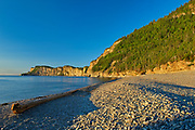 Limestone cliffs of Cap-Bon-Ami along the Gulf of St. Lawrence at sunrise. Appalachians' northeasternmost tip in North America. <br />Forillon National Park<br />Quebec<br />Canada