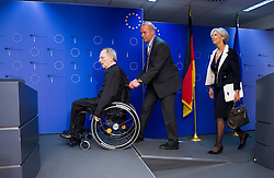 Wolfgang Schaeuble, Germany's finance minister,  left, and Christine Lagarde, France's finance minister, arrive for a joint press conference following the first meeting of the Van Rompuy task force on economic governance, in Brussels, Belgium, on Friday, May 21, 2010. (Photo © Jock Fistick)