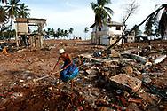 Residents of the coastal fishing village Hambantota clear a space to erect a tent in the devastated town center. Hambantota, Sri Lanka. 21/01/2005. Photo © J.B. Russell