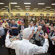 Former Governor Charlie Crist thanks the group of people gathered in line to have his new book autographed by him at the Books-a-Million in Fort Myers. (Willie J. Allen Jr./ for the Washington Post)