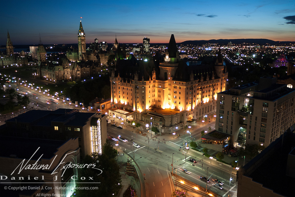 Parliament building and the Fairmont Hotel light up the downtown section of Ottawa, Canada.
