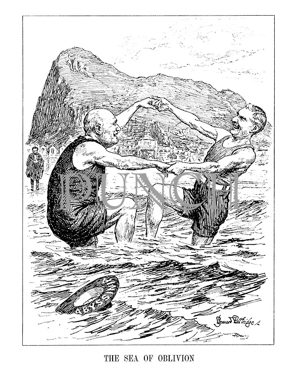 The Sea of Oblivion. (Neville Chamberlain and Benito Mussolini dance in the sea together infront of the Rock of Gibralta while a cautious Haile Selassie stands at the shore waiting for Chamberlain to throw him his Abyssinian life belt)