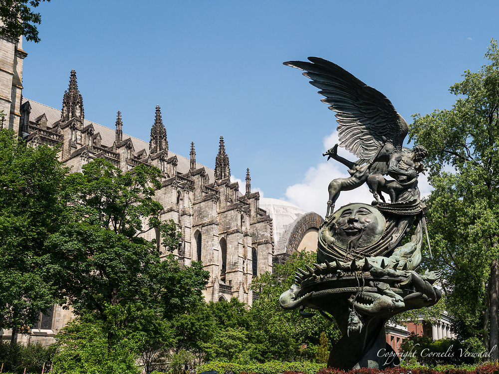The Peace Fountain, located next to the Cathedral of Saint John the Divine and created in 1985 by Greg Wyatt, sculptor-in-residence at the Cathedral.
