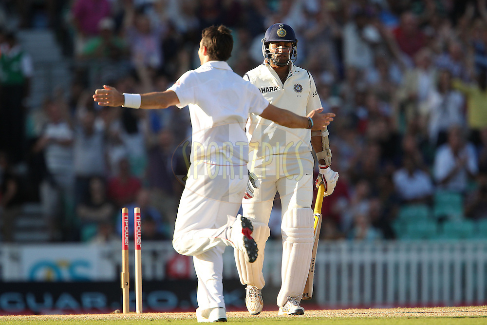 England's James Anderson celebrates the wicket of India's VVS Laxman during day 4 of the fourth test match between England and India held at The Oval in Lambeth, London, England on the 21st August 2011...Photo by Ron Gaunt/SPORTZPICS/BCCI